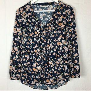 LC Lauren Conrad Button Down Blouse XS Floral Top